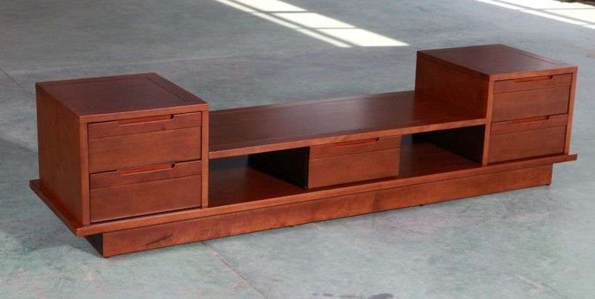 European Style Luxury Beech TV Stand , High Gloss Laminated Wooden TV Cabinet